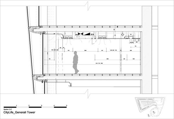 חתך C-C. תכנון: Zaha Hadid Architects.
