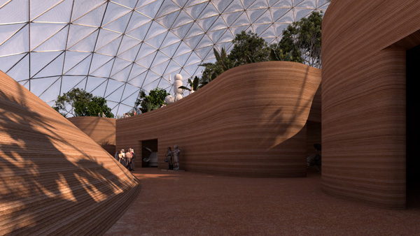 המבנים המודפסים מתמזגים עם השטח. הדמיה: BIG - Bjarke Ingels Group