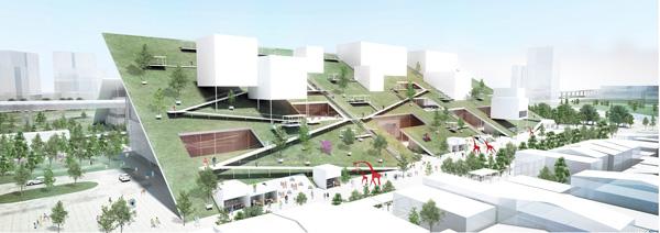 מבט אל הקיר הירוק הגדול בפרויקט. הדמיה: Taoyuan office of Public Construction