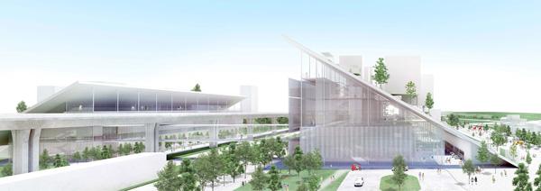 מבט על הפרויקט מהצד. הדמיה: Taoyuan office of Public Construction
