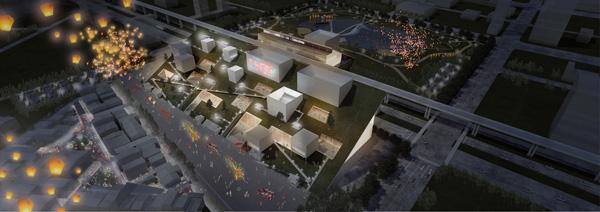 מראה הפרויקט בשעות הלילה. הדמיה: Taoyuan office of Public Construction