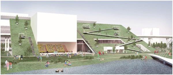 המבנה הקטן יותר יישק לשפת אגם מלאכותי קטן. הדמיה: Taoyuan office of Public Construction