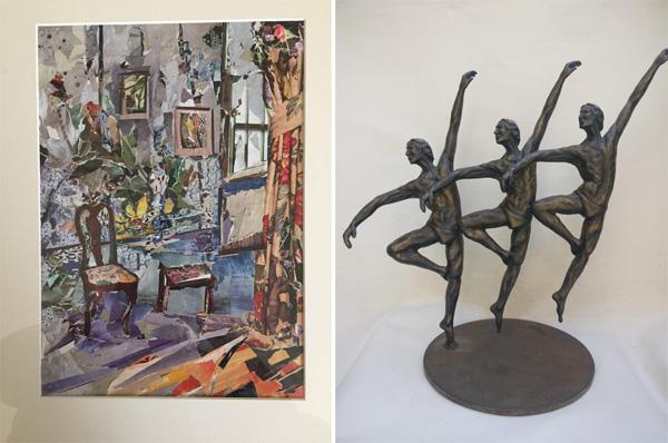 מימין: עבודה של תמי מאירי, משמאל: חנה קרטיס, קולאז
