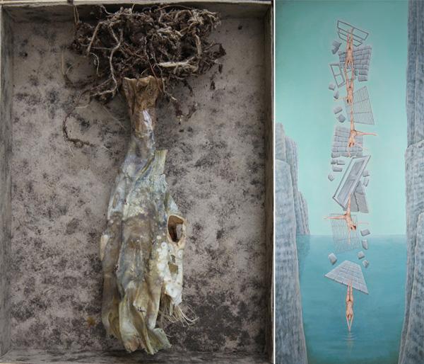 מימין: עבודה של טלי עירוני; משמאל: עבודה של יהודית שרייבר. מתוך התערוכה