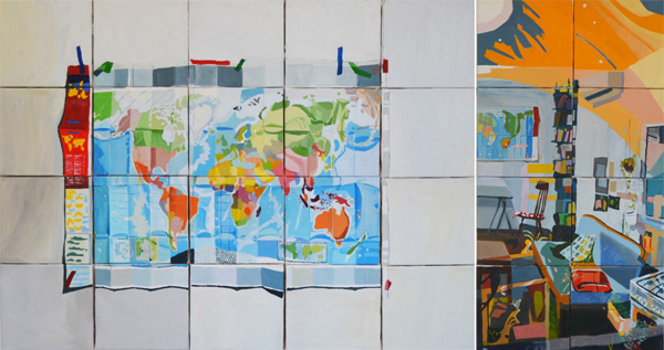 עבודותיה של הילה שפיצר. מימין: מחלון המטבח החוצה, טריפטיכון, 2018. משמאל: גלובוס, שמן על בד, 2018