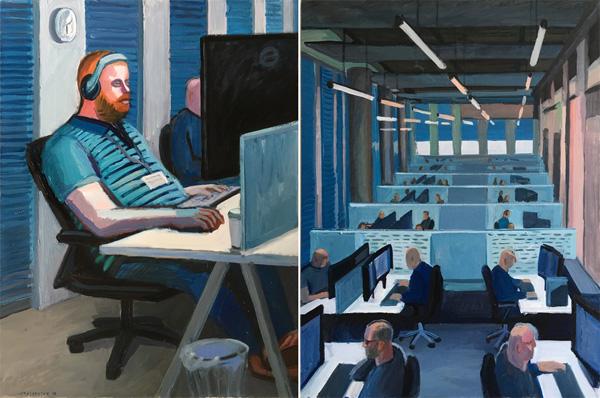 ציורים של אנה לוקשבסקי. מימין: משרד הייטק, 2018. משמאל: מתכנת, 2018.