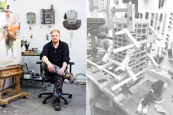 האמן גואידו צימרמן בסדנתו. צילום מימין: Guido Zimmermann. צילום משמאל: Jan Kaesbach