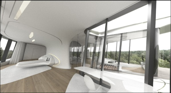 סוויטת ההורים במפלס העליון. הדמיה: Zaha Hadid Architects