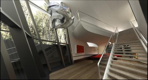 מעבר בין המפלסים התחתונים. הדמיה: Zaha Hadid Architects