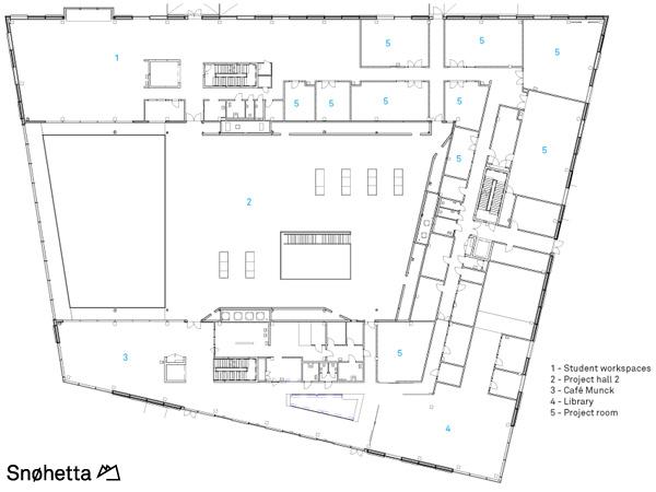 תכנית מפלס 2. תכנון: Snøhetta AS