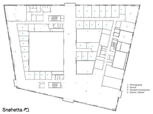 תכנית מפלס 4. תכנון: Snøhetta AS