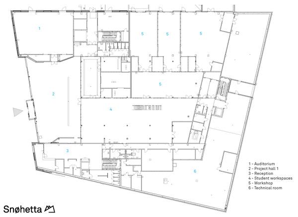 תכנית מפלס 1. תכנון: Snøhetta AS