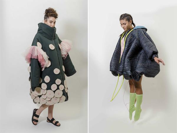 המחלקה לצורפות ואופנה. מימין: הפרויקט של שירה אסולין, משמאל: הפרויקט של דניאל בוטבגה. צילום: הילה מרסלה קוק.