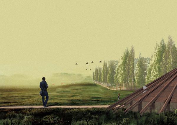 פרס הסטודנט - שרשרת עץ המשקיפה לנוף. הדמיה באדיבות: BEE BREEDERS