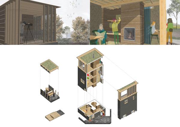 ההצעה הזוכה - מבטים שונים ופירוק המבנה. הדמיה באדיבות: BEE BREEDERS