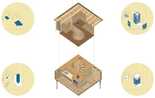 ההצעה הזוכה - דיאגרמות חומרים והרכבה. הדמיה באדיבות: BEE BREEDERS
