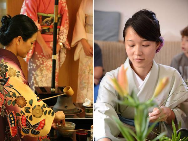 מימין: אמנות סידור פרחים יפנית. משמאל: טקס תה יפני