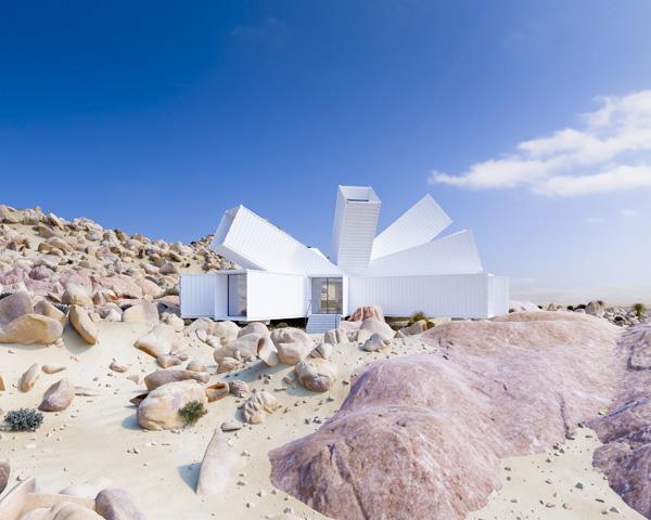 כוכב ממכולות בלב המדבר, תכנון והדמיה: Whitaker Studio