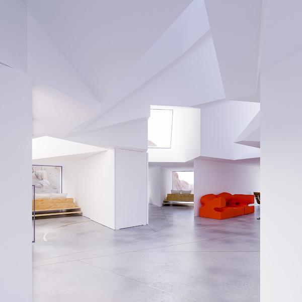 החלל הציבורי הנמצא בתפר בין המכולות, תכנון והדמיה: Whitaker Studio