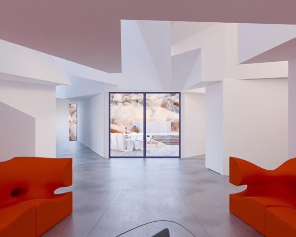 גוונים טבעיים ונגיעות של כתום עז, תכנון והדמיה: Whitaker Studio