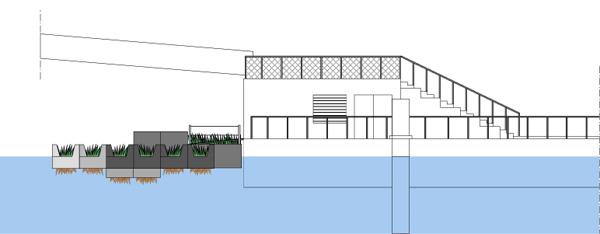 מבט צדי. תכנון: Recycled Island Foundation
