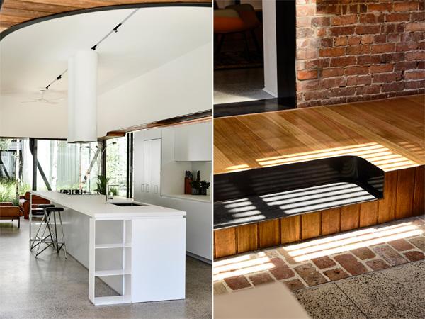 פרט נגרות יחודי וחלל המטבח המואר. תכנון: Austin Maynard Architects, צילום: Derek Swalwell