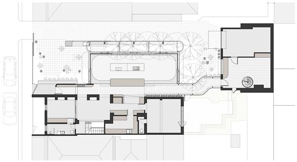 תכנית מפלס קרקע. תכנון: Austin Maynard Architects