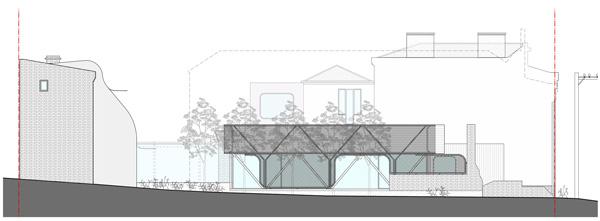 חזית מזרחית. תכנון: Austin Maynard Architects
