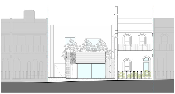 חזית צפונית. תכנון: Austin Maynard Architects