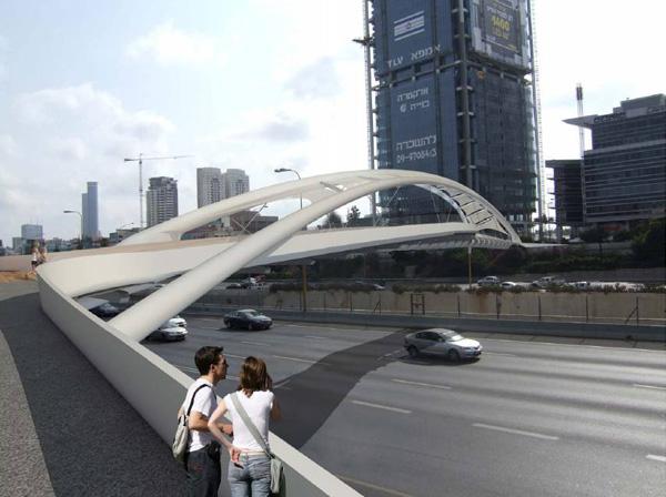 גשר יהודית. חסימת הכבישים באמצע השבוע יפגע בכלל הציבור. הדמיה: חן אדריכלים