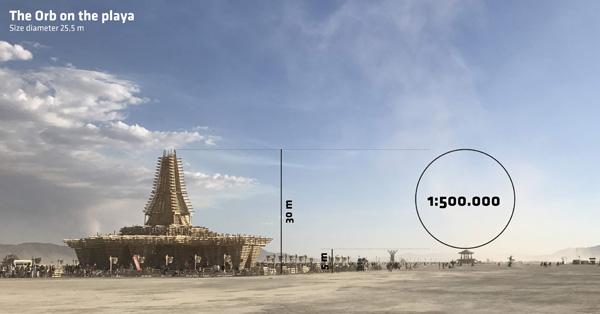 הכדור יתנשא לגובה של כ-30 מטרים. באדיבות: Bjarke Ingels & Jakob Lange