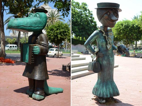 פסלים נוספים בגן: הזקנה שפקלק וקרוקודיל גנה. צילום: אלי נאמן