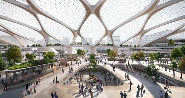 הדמיית פרויקט תחנת ההיפר-לופ האירופית. הדמיה: Plompmozes