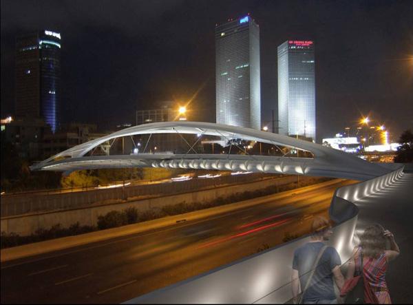 גשר יהודית בלילה. הדמיה: חן אדריכלים