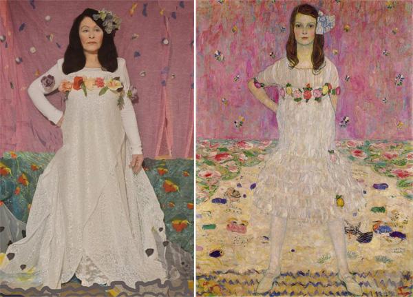 מימין: גוסטב קלימט, דיוקנה של מאדה פרימבסי. משמאל: שחזורה של עדי עציון. צילום: יונתן זק