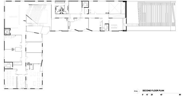 תכנית הקומה השניה. תכנון: Steven Holl Architects