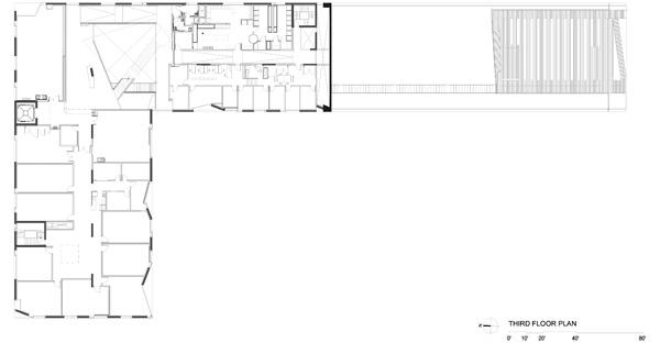 תכנית הקומה השלישית. תכנון: Steven Holl Architects