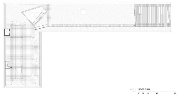 תכנית מפלס הגג. תכנון: Steven Holl Architects