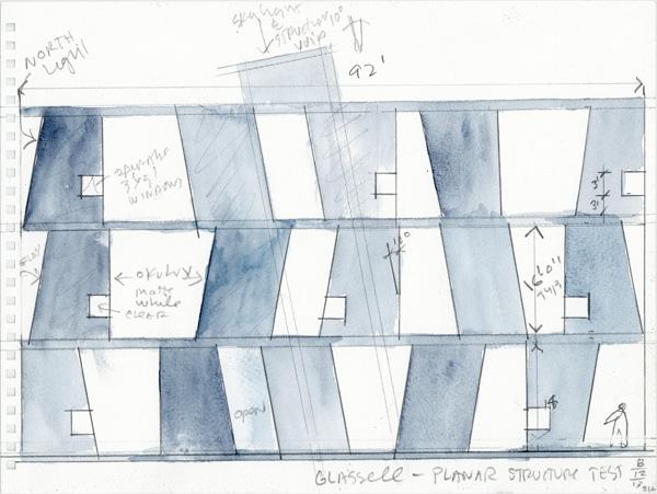 סקיצה - רישומי אקוורל. תכנון: Steven Holl Architects