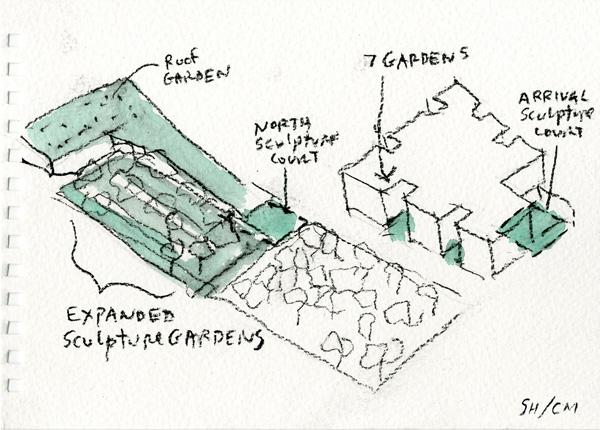 סקיצה נוספת באקוורל. תכנון: Steven Holl Architects
