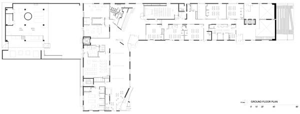 תכנית מפלס הקרקע. תכנון: Steven Holl Architects