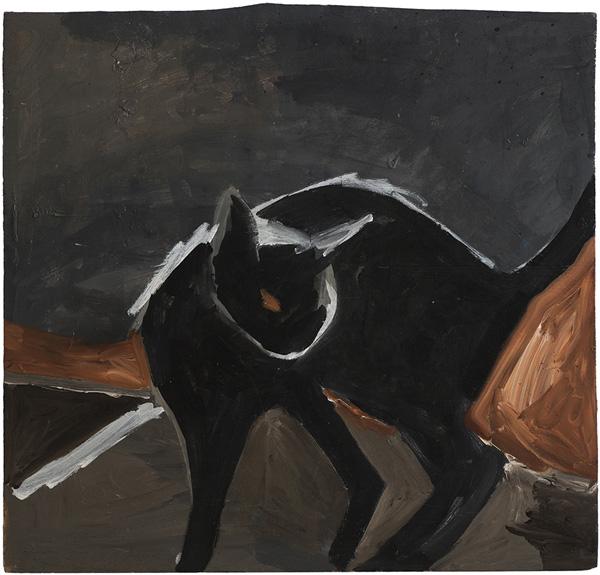 חתולת הבית השחורה. ציור מתוך התערוכה החדשה של ענת רגב גיסיס