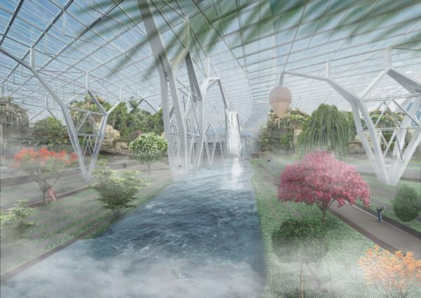 מיני עצים וצמחים מרחבי סין. הדמיה: EASTERN design office