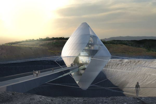 בנין Avatar X Lab מרחף מעל מכתש דמוי הירח. תכנון והדמיה: Clouds Architecture Office