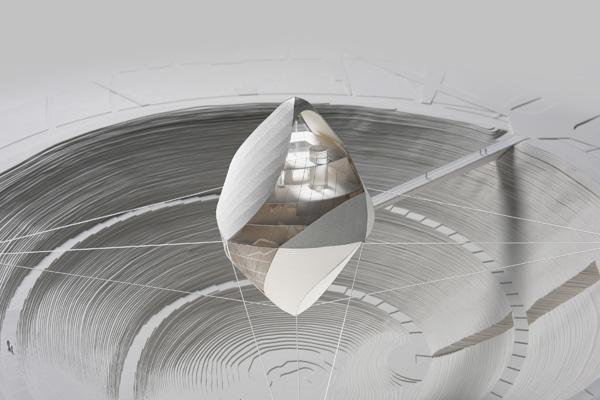 מבט מקרוב - מודל בקנה מידה של בנין Avatar X Lab. תכנון: Clouds Architecture Office מודל: GION