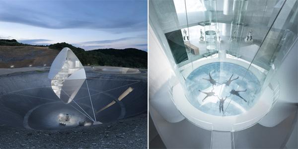 מימין: מתקן הדמיית חלל. משמאל: הבנין בשעות הערב. תכנון והדמיה: Clouds Architecture Office