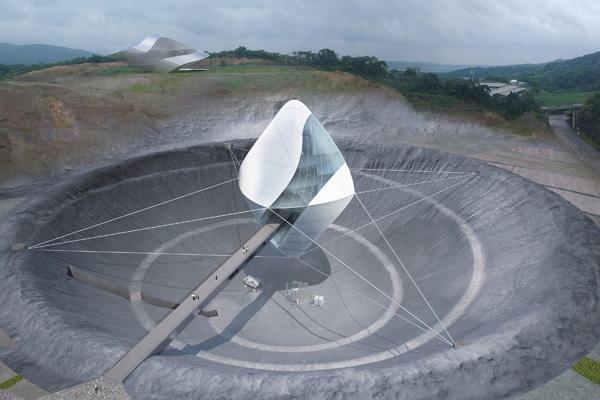 בנין Avatar X Lab מעל מכתש הירח. תכנון והדמיה: Clouds Architecture Office
