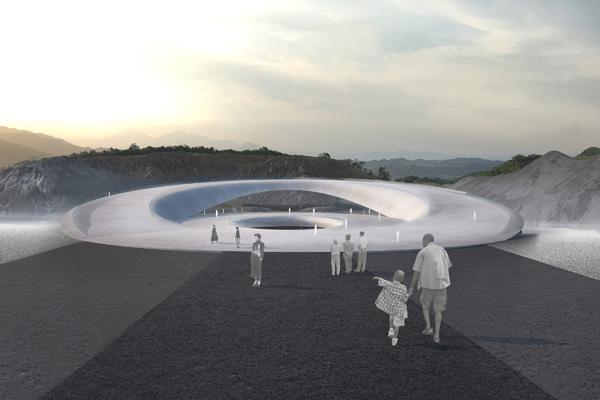 הכניסה לבנין סימולצית החיים על הירח. תכנון והדמיה: Clouds Architecture Office