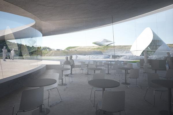 בית קפה בבנין הסימולציה לחיים על הירח. תכנון והדמיה: Clouds Architecture Office