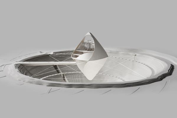 מודל בקנה מידה של בנין Avatar X Lab. תכנון: Clouds Architecture Office מודל: GION